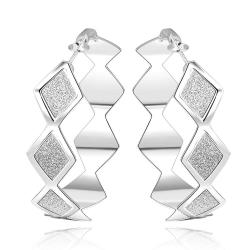 Vienna Jewelry Sterling Silver Square Shaped Design Hoops - Thumbnail 0
