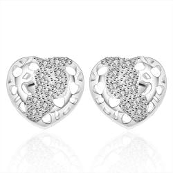 Vienna Jewelry Sterling Silver Laser Cut Stud Heart Earring - Thumbnail 0