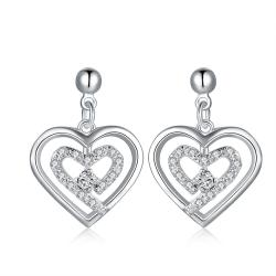 Vienna Jewelry Sterling Silver Stones & Crystal Stone Heart Earring - Thumbnail 0