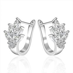 Vienna Jewelry Sterling Silver Leaf Twist Earring - Thumbnail 0
