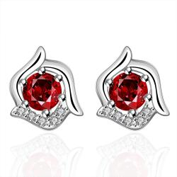 Vienna Jewelry Sterling Silver Curved Floral Ruby Stud Earring - Thumbnail 0