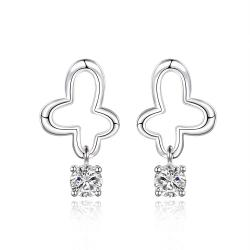 Vienna Jewelry Sterling Silver Curved Clover Drop Earring - Thumbnail 0