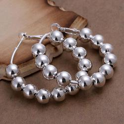 Vienna Jewelry Sterling Silver Multi-Beads Hoops - Thumbnail 0