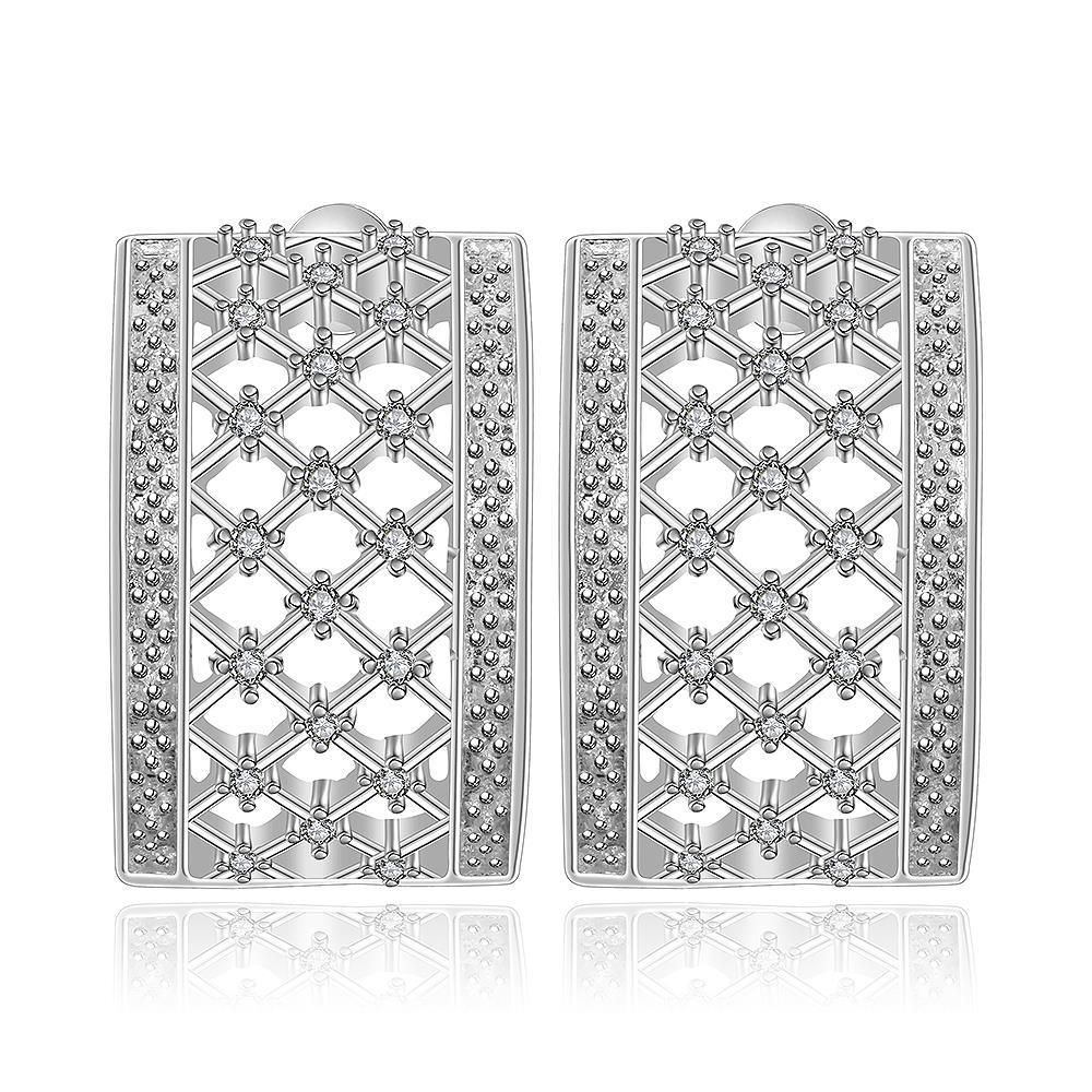 Vienna Jewelry Sterling Silver Hollow Geometric Stones Earring