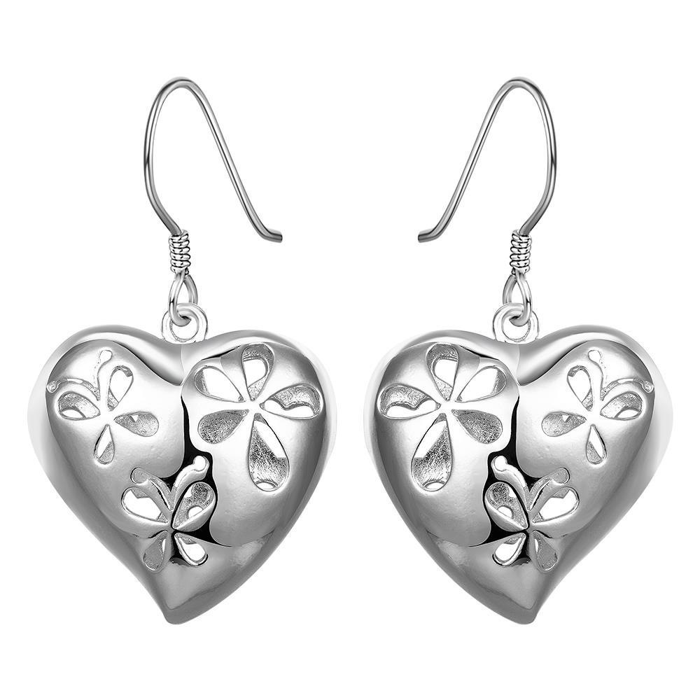 Vienna Jewelry Sterling Silver Filigree Heart Shaped Earring - Thumbnail 0