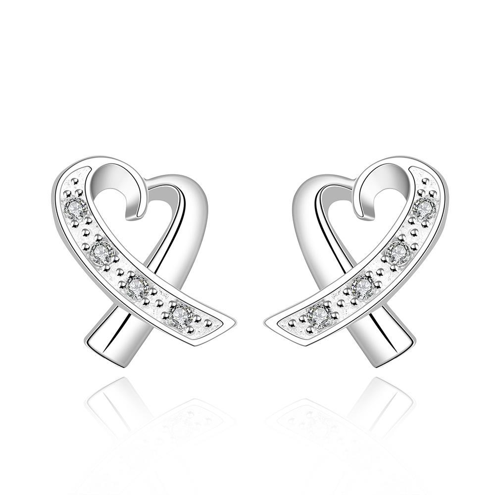 Vienna Jewelry Sterling Silver Infinite Heart Shaped Earring
