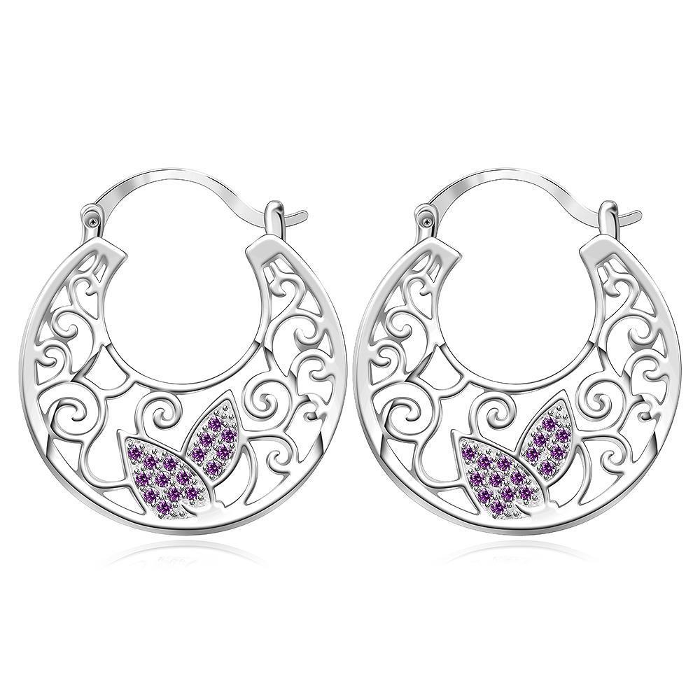 Vienna Jewelry Sterling Silver Coral Citrine Wings Hoop Earring
