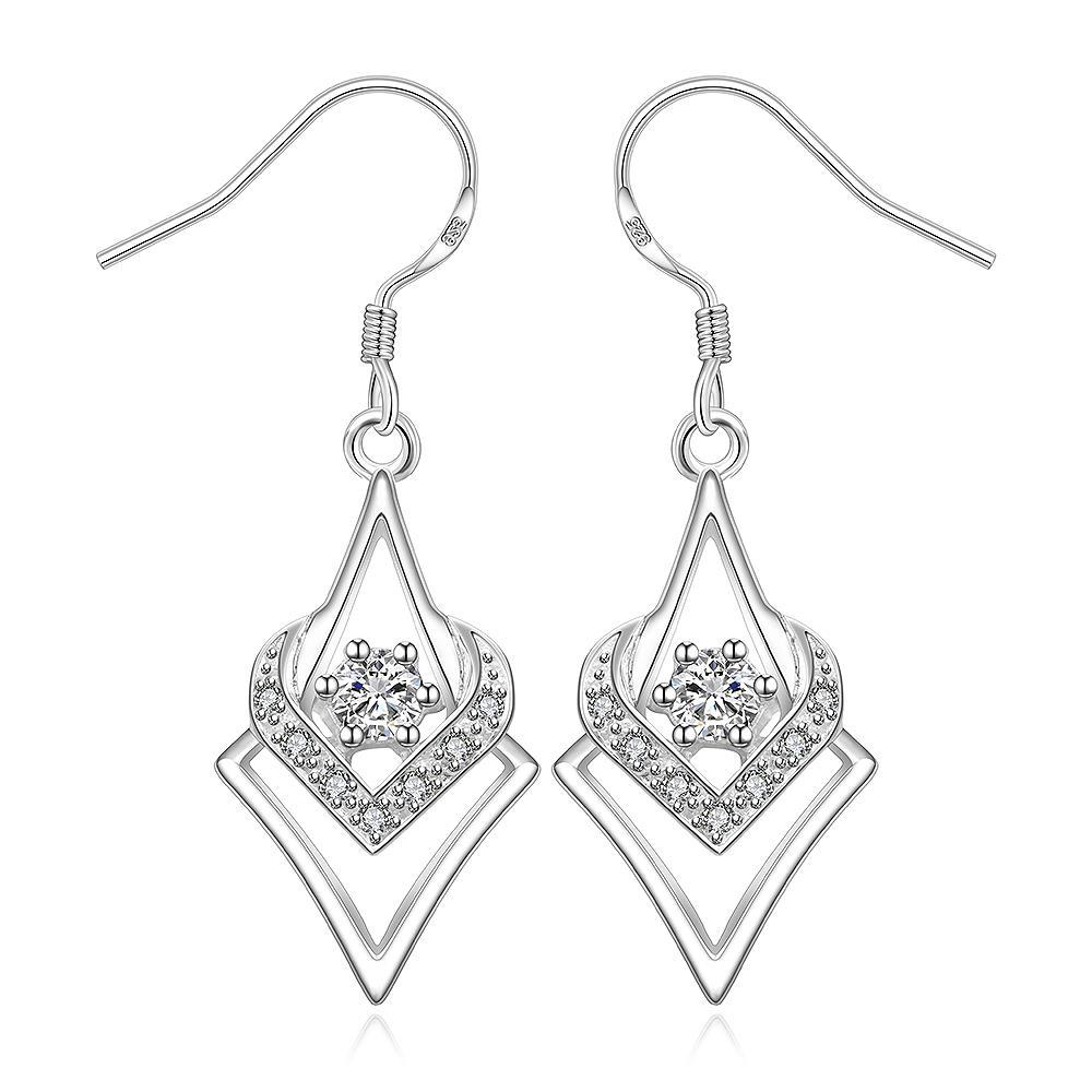 Vienna Jewelry Sterling Silver Curved Triangular Drop Earring