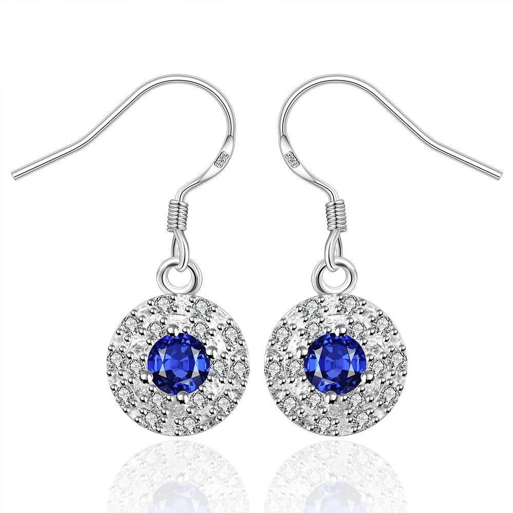 Vienna Jewelry Sterling Silver Sapphire Circular Stones Encrusted Drop Earring