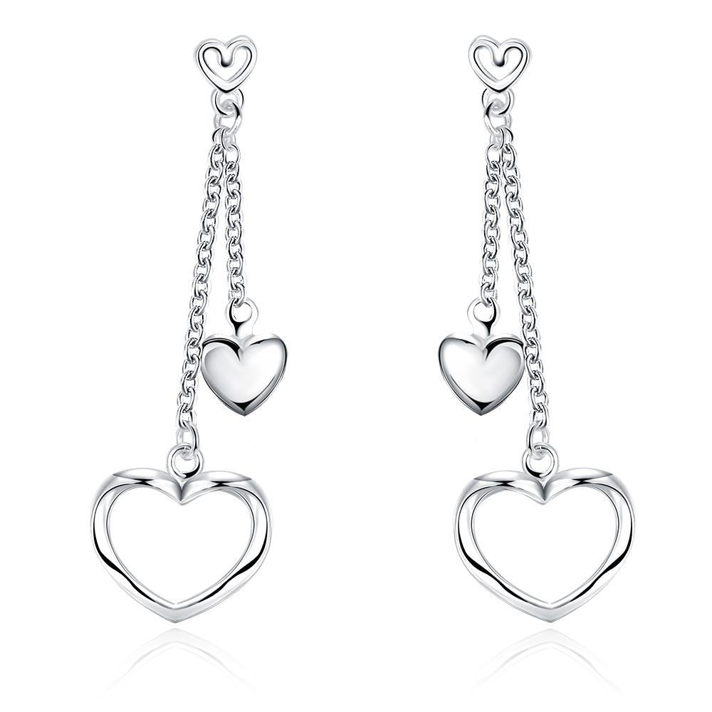Vienna Jewelry Sterling Silver Duo-Hearts Drop Earring
