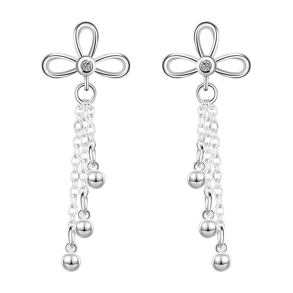 Vienna Jewelry Sterling Silver Clover Stud Pendant Drop Drop Earring