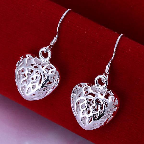 Vienna Jewelry Sterling Silver Laser Cut Heart Shaped Drop Earring