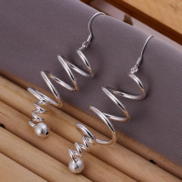Vienna Jewelry Sterling Silver Drop Spiral Earring