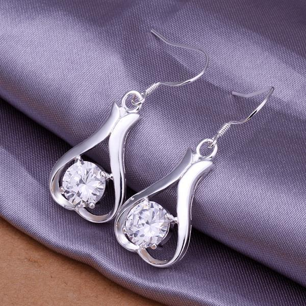 Vienna Jewelry Sterling Silver Drop Down Heart Shaped Earring - Thumbnail 0