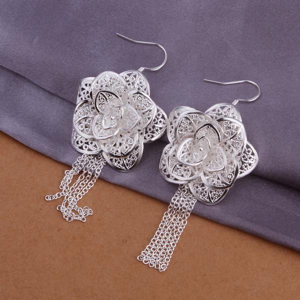 Vienna Jewelry Sterling Silver Drop Floral Petal Earring