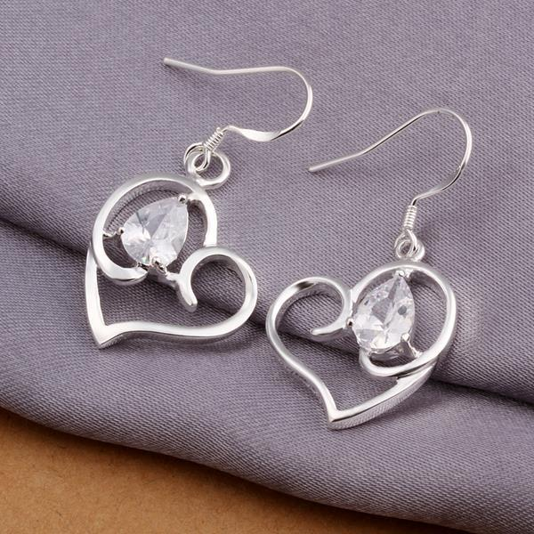 Vienna Jewelry Sterling Silver Hollow Petite Heart Shaped Earring