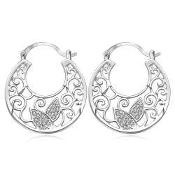 Vienna Jewelry Sterling Silver Crystal Wings Hoop Earring - Thumbnail 0