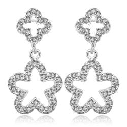 Vienna Jewelry Sterling Silver Hollow Duo-Stars Earring - Thumbnail 0