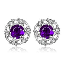 Vienna Jewelry Sterling Silver Purple Citrine Gem Spiral Design Stud Earring - Thumbnail 0