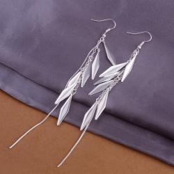 Vienna Jewelry Sterling Silver Drop Plated Leaf Earring - Thumbnail 0