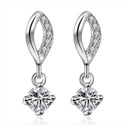 Vienna Jewelry Sterling Silver Crystal Gem Stone Drop Drop Earring - Thumbnail 0
