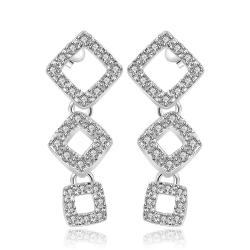 Vienna Jewelry Sterling Silver Trio-Square Abstract Earring - Thumbnail 0