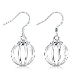 Vienna Jewelry Sterling Silver Vertical Lined Ball Drop Earring - Thumbnail 0