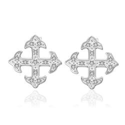 Vienna Jewelry Sterling Silver Onyx Cross Setting Stud Earring - Thumbnail 0