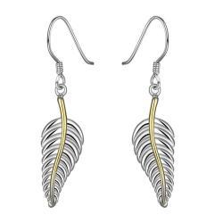 Vienna Jewelry Sterling Silver Modern Leaf Branch Drop Earring - Thumbnail 0