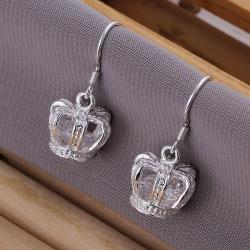 Vienna Jewelry Sterling Silver Crown Shaped Drop Earring - Thumbnail 0