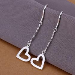 Vienna Jewelry Sterling Silver Drop Hollow Hearts Earring - Thumbnail 0