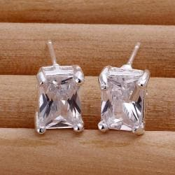 Vienna Jewelry Sterling Silver Classical Square Crystal Stud Earring - Thumbnail 0