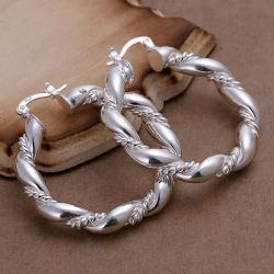 Vienna Jewelry Sterling Silver Curved Ancient Rome Hoops - Thumbnail 0
