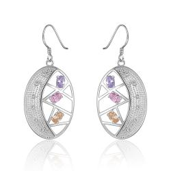 Vienna Jewelry Sterling Silver Multi Colored Stones Hoop Earring - Thumbnail 0