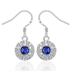 Vienna Jewelry Sterling Silver Sapphire Circular Stones Encrusted Drop Earring - Thumbnail 0