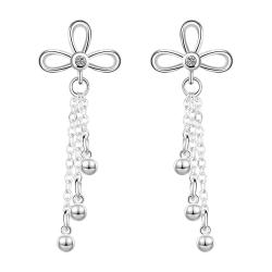 Vienna Jewelry Sterling Silver Clover Stud Pendant Drop Drop Earring - Thumbnail 0