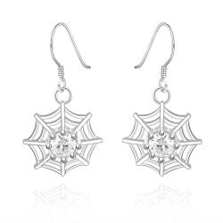 Vienna Jewelry Sterling Silver Spider Web Pendant Drop Earring - Thumbnail 0