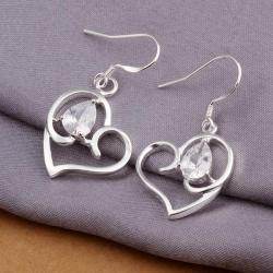 Vienna Jewelry Sterling Silver Hollow Petite Heart Shaped Earring - Thumbnail 0