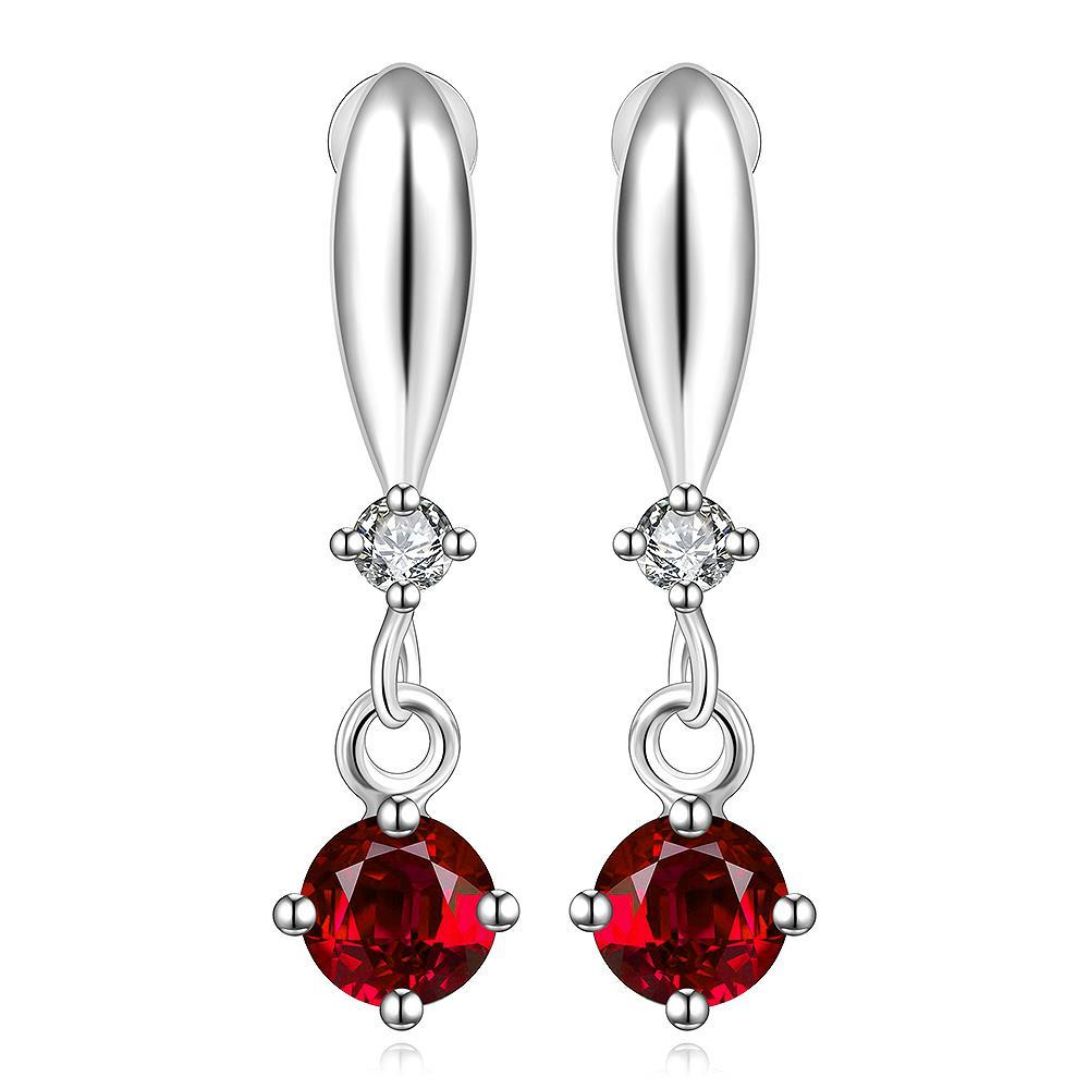 Vienna Jewelry Sterling Silver Ruby Gem Vertical Drop Earring