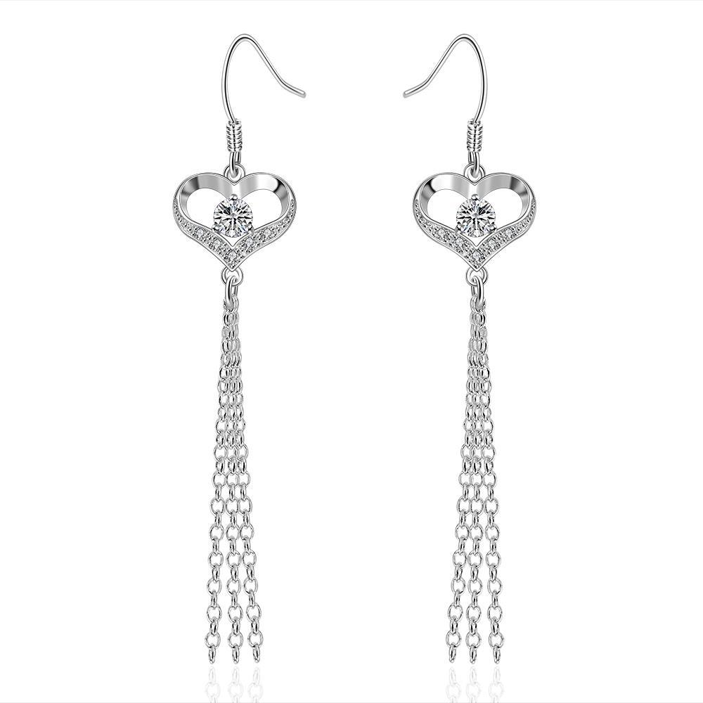 Vienna Jewelry Sterling Silver Hollow Heart Drop Earring