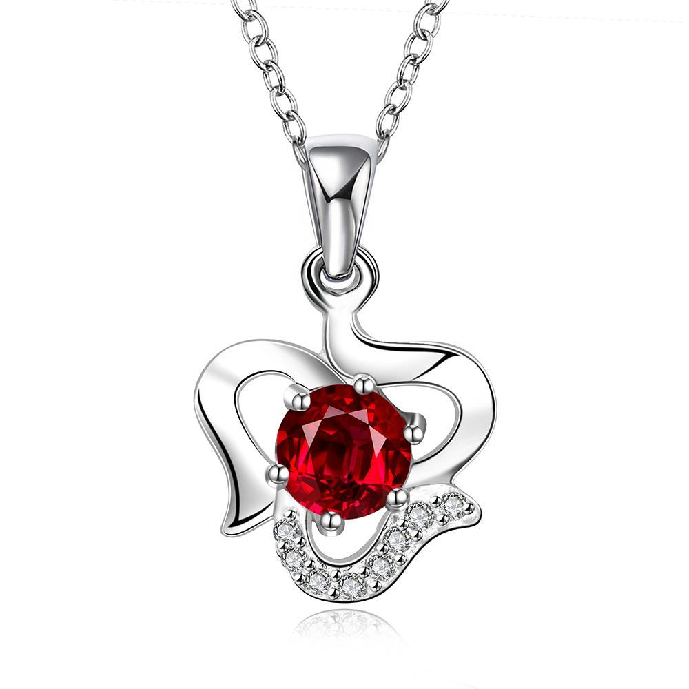 Vienna Jewelry Sterling Silver Curved Heart with Ruby Red Gem Necklace