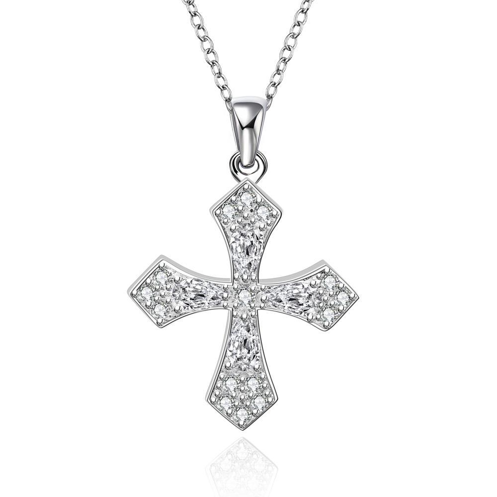 Vienna Jewelry Sterling Silver Petite Cross with Jewels Necklace