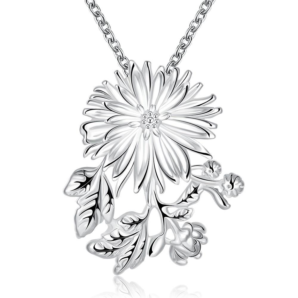 Vienna Jewelry Sterling Silver Blossoming Orchid Clover Drop Necklace