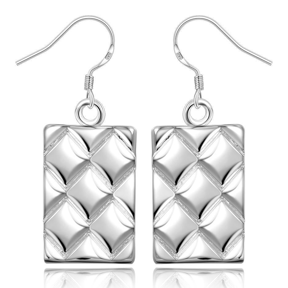 Vienna Jewelry Sterling Silver Curved Lining Square Earring - Thumbnail 0