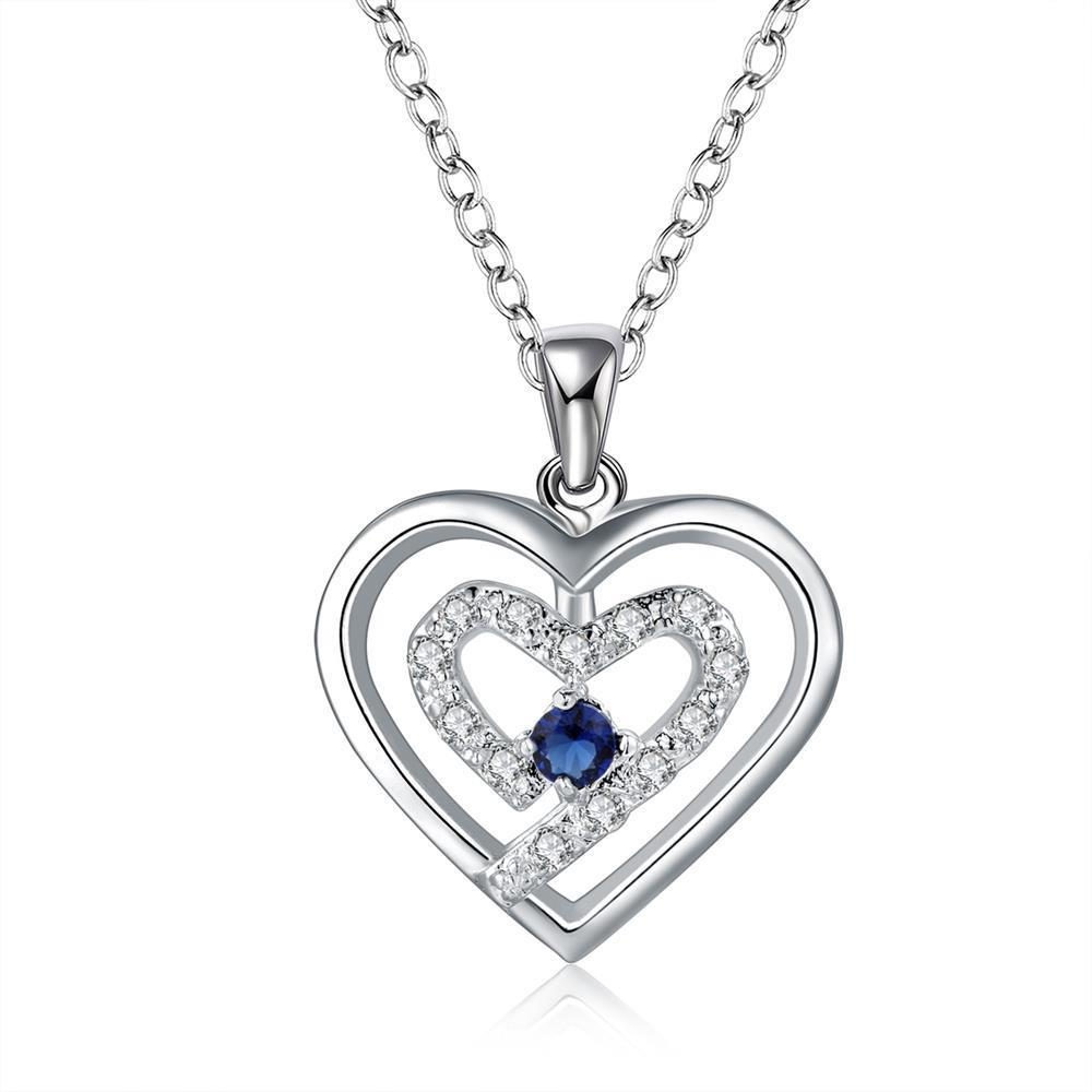 Vienna Jewelry Sterling Silver Petite Mock Sapphire Curved Heart Design Necklace