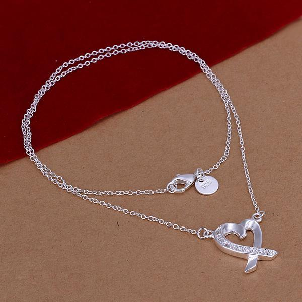 Vienna Jewelry Sterling Silver Infinite Love Drop Necklace