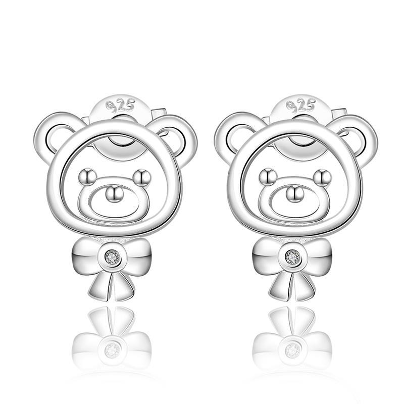 Vienna Jewelry Sterling Silver Laser Cut Teddy Bear Stud Earring