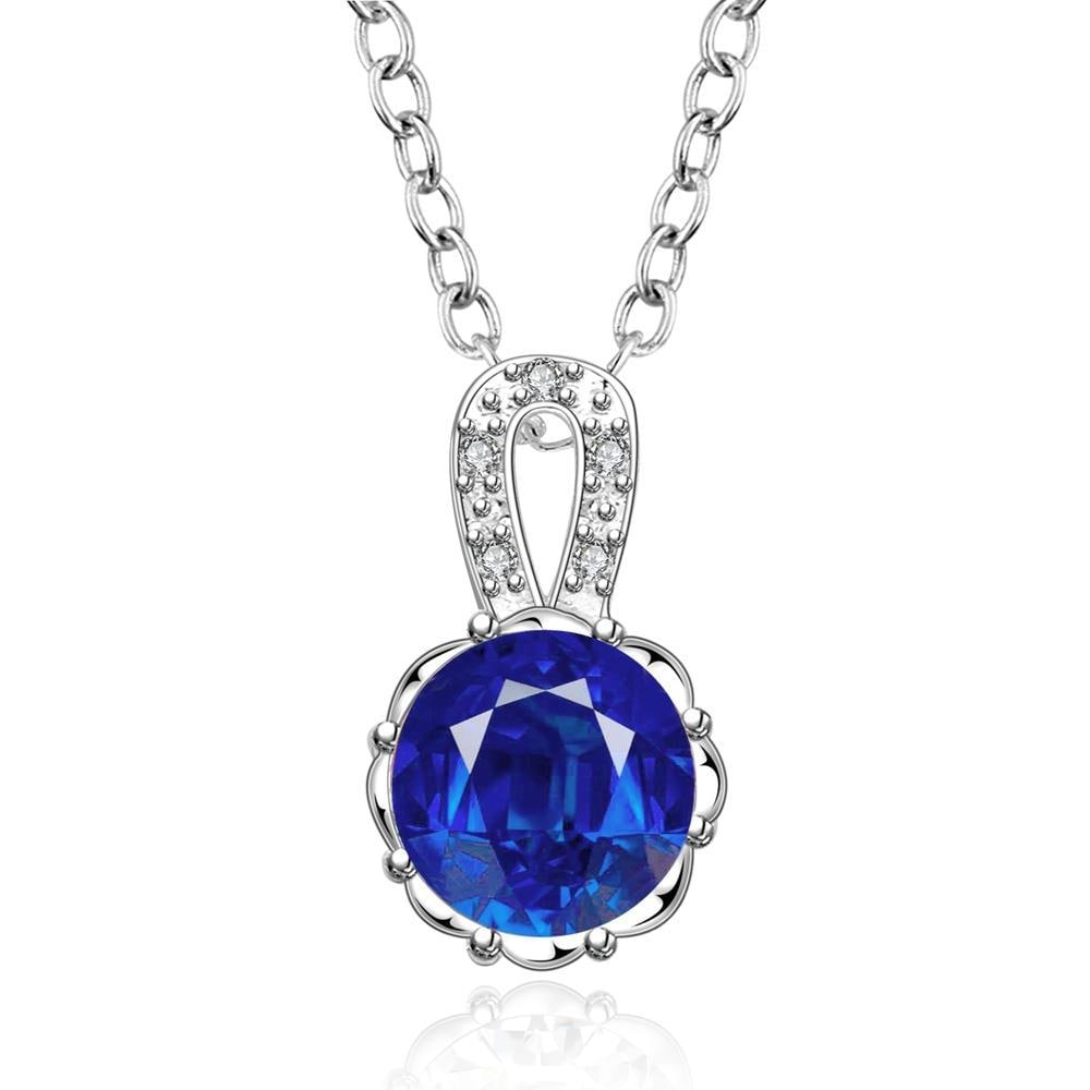 Vienna Jewelry Sterling Silver Mock Sapphire Center Drop Necklace