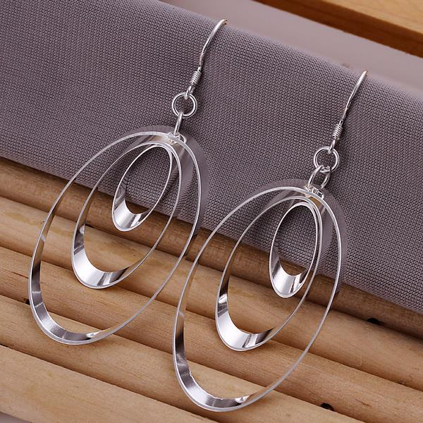 Vienna Jewelry Sterling Silver Drop Circular Earring