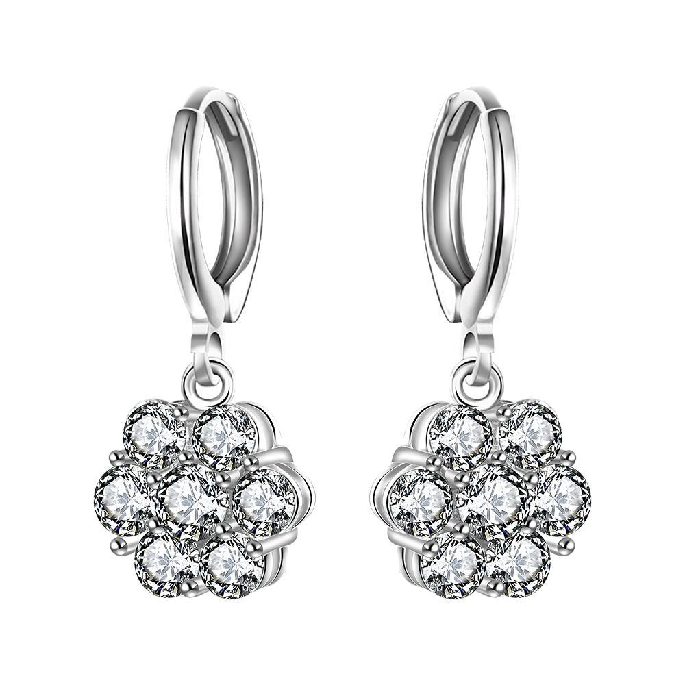 Vienna Jewelry Sterling Silver Stones Clover Shaped Drop Earring
